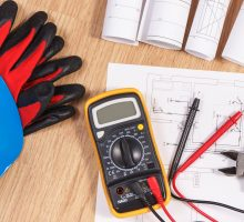 Electrical construction drawings or diagrams, multimeter for measurement in electrical installation and accessories for engineer jobs