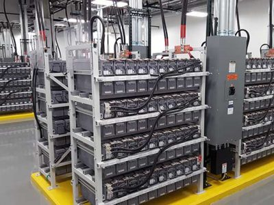 A battery room inside the QTS Data Centers campus in Richmond, Va. These batteries provide temporary emergency power for UPS systems.